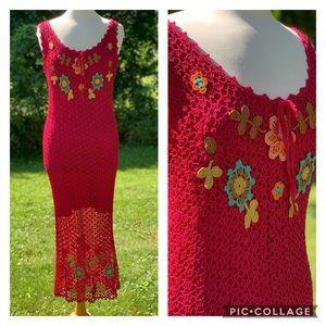 Vintage 1990s Sue Wong Dress Crochet Knit